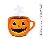 hot coffee  chocolate or tea in ... | Shutterstock .eps vector #1210698691