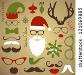 retro party set   santa claus... | Shutterstock .eps vector #121069885