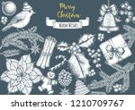 christmas greeting card. hand...   Shutterstock .eps vector #1210709767