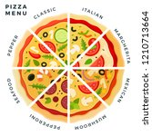 different types of pizza slices ... | Shutterstock .eps vector #1210713664