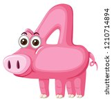 Cute Pig Number Four Character...