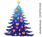 christmas tree with beautiful... | Shutterstock .eps vector #1210741144