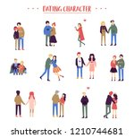 flat cartoon happy romantic... | Shutterstock .eps vector #1210744681