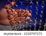 hand holding many different... | Shutterstock . vector #1210747171
