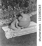 girl and her beach ball | Shutterstock . vector #121080265