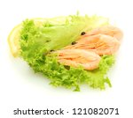 boiled shrimps on lettuce... | Shutterstock . vector #121082071