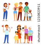 tour guide vector man and woman ... | Shutterstock .eps vector #1210823911