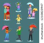 people in rain vector man woman ...   Shutterstock .eps vector #1210823947