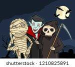 vector halloween cartoon... | Shutterstock .eps vector #1210825891