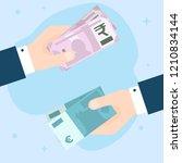 flat design of exchange euros... | Shutterstock .eps vector #1210834144