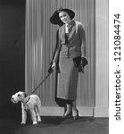 Stock photo fashionable dog walker 121084474