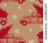 christmas truck with christmas ... | Shutterstock .eps vector #1210851547