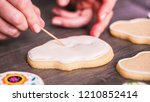 step by step. flooding a sugar... | Shutterstock . vector #1210852414