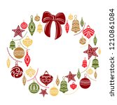 christmas wreath  sketch... | Shutterstock .eps vector #1210861084