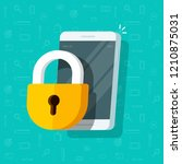 mobile phone with lock vector... | Shutterstock .eps vector #1210875031