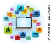 social media laptop | Shutterstock .eps vector #121090291
