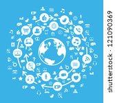 internet social media globe blue | Shutterstock .eps vector #121090369