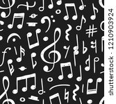 hand drawn music notes... | Shutterstock .eps vector #1210903924