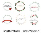 christmas wreath frame with... | Shutterstock .eps vector #1210907014