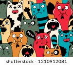 seamless pattern with crowd of... | Shutterstock .eps vector #1210912081