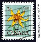 Small photo of CANADA - CIRCA 1977: a stamp printed in the Canada shows Canada Lily, Lilium Canadense, Flower, circa 1977
