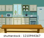 cozy kitchen interior with... | Shutterstock .eps vector #1210944367