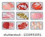 packages with fresh meat ... | Shutterstock .eps vector #1210951051