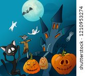 halloween poster with castle on ... | Shutterstock .eps vector #1210953274
