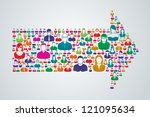group of people move forward in ... | Shutterstock .eps vector #121095634