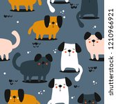 happy dogs  hand drawn backdrop.... | Shutterstock .eps vector #1210966921