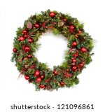 Christmas Wreath Isolated Over...