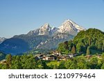 Mountain landscape in the Bavarian Alps with village of Berchtesgaden and Watzmann in the background Berchtesgadener Land, Bavaria, Germany