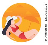 a girl on a beach is laying ... | Shutterstock .eps vector #1210981171