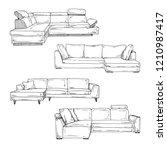 set of sofas isolated on white... | Shutterstock .eps vector #1210987417