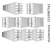 sketch different containers.... | Shutterstock .eps vector #1210987561