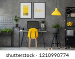 stylish yellow and grey home... | Shutterstock . vector #1210990774