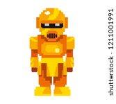 pixel video game gold robot | Shutterstock .eps vector #1211001991