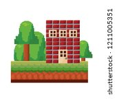 pixel video game | Shutterstock .eps vector #1211005351