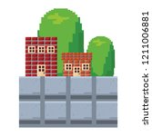 building brick level video game | Shutterstock .eps vector #1211006881