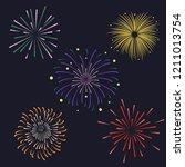 Set of Firework brusting with colorful sparkling illustration