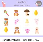 find two same pictures. cartoon ... | Shutterstock .eps vector #1211018767