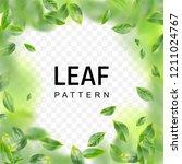 beautiful flying green leaf... | Shutterstock .eps vector #1211024767