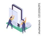mobile application development. ... | Shutterstock .eps vector #1211026291