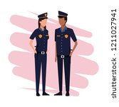 police officers job and workers | Shutterstock .eps vector #1211027941