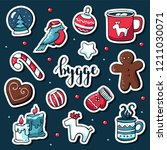 cute vector set of hygge... | Shutterstock .eps vector #1211030071
