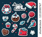 cute doodle christmas stickers. ... | Shutterstock .eps vector #1211030767