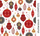 christmas seamless pattern with ... | Shutterstock .eps vector #1211049151