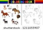 coloring book farm animals... | Shutterstock . vector #1211055907