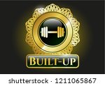 gold badge with dumbbell icon... | Shutterstock .eps vector #1211065867