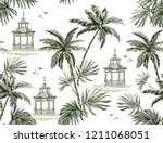 beautiful tropical vintage... | Shutterstock .eps vector #1211068051